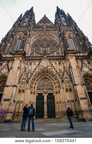 Prague, Czechia - November, 21, 2016: St. Vitus Cathedral  in Prague Castle, Czechia