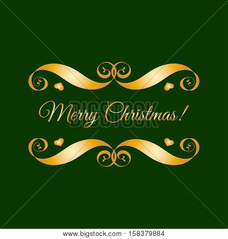 Vector gold Merry Christmas badge over green. Easy use and recolor elements for your design. Element for logo, banners, labels, postcards, invitations, prints, posters, web, presentation.