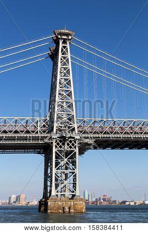 One of the pillars of Williamsburg Bridge in Manhattan, New York City