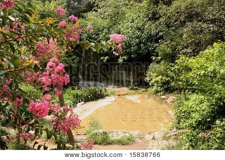 Chinese garden with waterfall