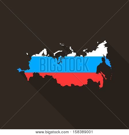 Vector Russian Federation map with long shadow