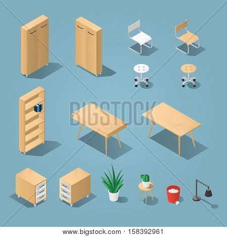 Isometric light brown office furniture set. Collection includes tables shelves bureau cabinet locker lamps chairs houseplants trash bin and cactus. Stock vector.