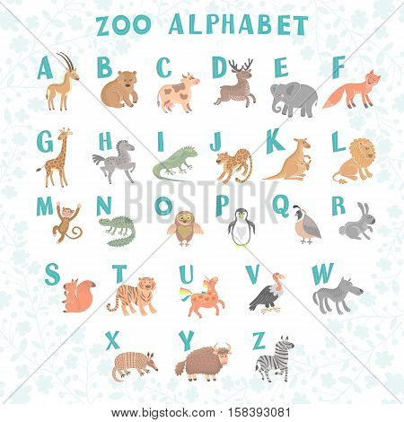 Cute vector zoo alphabet. Funny cartoon animals. Letters. Learn to read. Vector Illustration. Isolated.