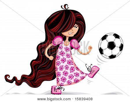 Menina jogando futebol.