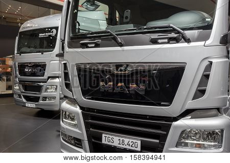 HANNOVER GERMANY - SEP 21 2016: Front view of MAN TGS & MAN TGX trucks on display at the International Motor Show for Commercial Vehicles.