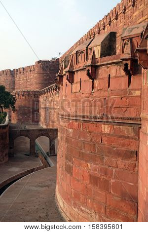 AGRA, INDIA - FEBRUARY 14 : Red Agra Fort in Agra. Uttar Pradesh, UNESCO World heritage site, India on February, 14, 2016.