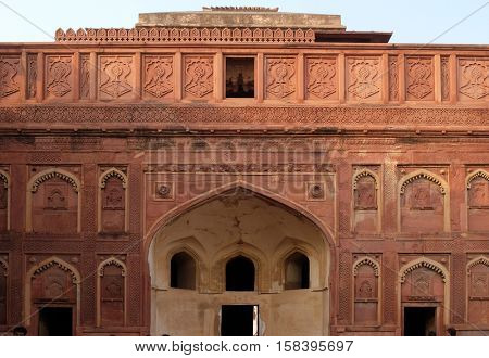 AGRA, INDIA - FEBRUARY 14 : Unique architectural details of Red Fort, Agra, UNESCO World heritage site, India on February, 14, 2016.