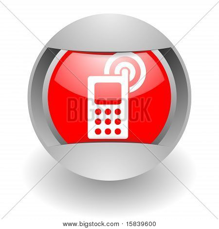 cell phone steel glosssy icon