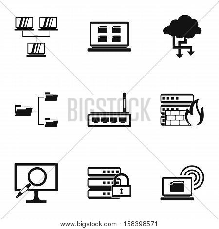Computer setup icons set. Simple illustration of 9 computer setup vector icons for web