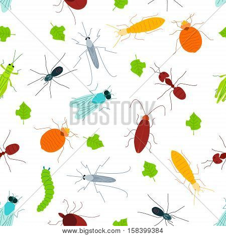 Seamless pattern of pest insects and damaged leaves on white background. Parasitic beetle concept. Perfect for exterminator service and pest control companies. Vector illustration.