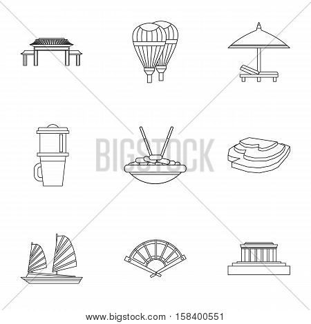Attractions of Vietnam icons set. Outline illustration of 9 attractions of Vietnam vector icons for web