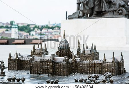 Miniature artistic model of hungarian parliament building in Budapest Hungary. House of the nation. Travel destination. Architectural theme.