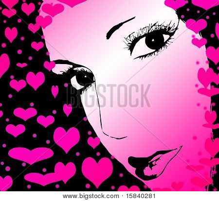 Beautiful woman with heart, valentine