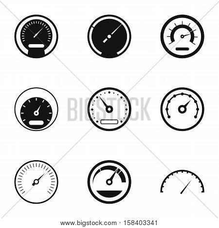 Types of speedometers icons set. Simple illustration of 9 types of speedometers vector icons for web