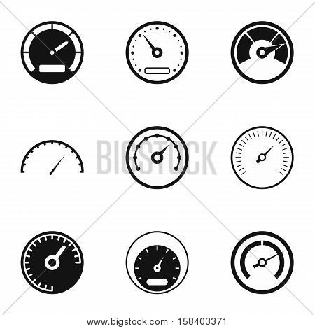 Speedometer for transport icons set. Simple illustration of 9 speedometer for transport vector icons for web