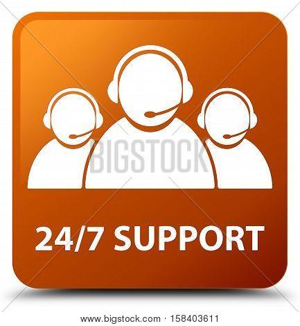 24/7 Support (customer care team icon) brown square button
