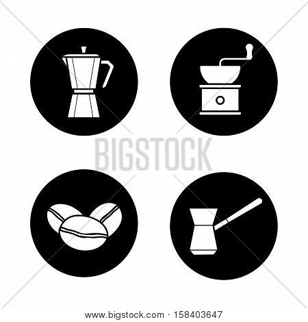 Coffee brewing icons set. Moka pot, classic coffee maker, turkish cezve, grinder and beans. Vector white illustrations in black circles