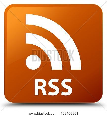 RSS (newsfeed icon) on brown square button