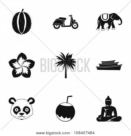 Country Thailand icons set. Simple illustration of 9 country Thailand vector icons for web