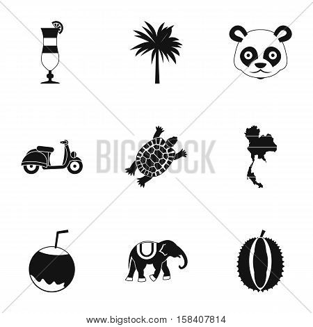 Tourism in Thailand icons set. Simple illustration of 9 tourism in Thailand vector icons for web