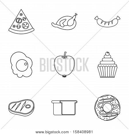 Breakfast icons set. Outline illustration of 9 breakfast vector icons for web