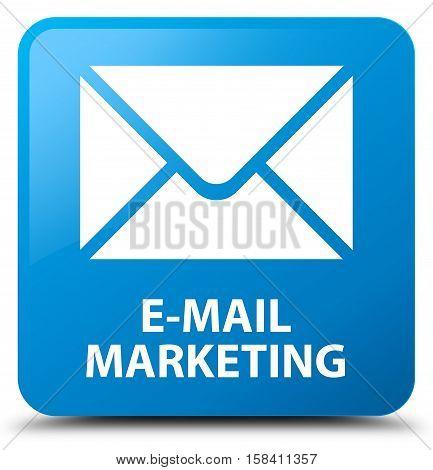 E-mail marketing (envelop icon) cyan blue square button
