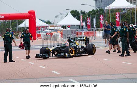 Trulli finishes an F1 demo run in Putrajaya Malaysia