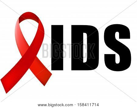 World Aids Day concept with text and red ribbon of aids awareness. 1st December. Vector illustration.