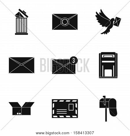 Letter icons set. Simple illustration of 9 letter vector icons for web