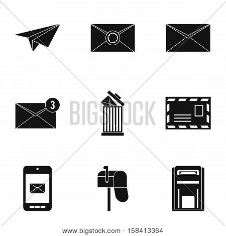 E-mail icons set. Simple illustration of 9 e-mail vector icons for web