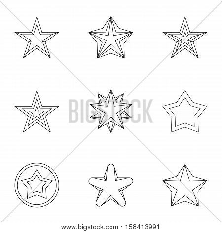 Geometric figure star icons set. Outline illustration of 9 geometric figure star vector icons for web