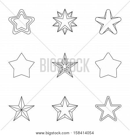Figure star icons set. Outline illustration of 9 figure star vector icons for web