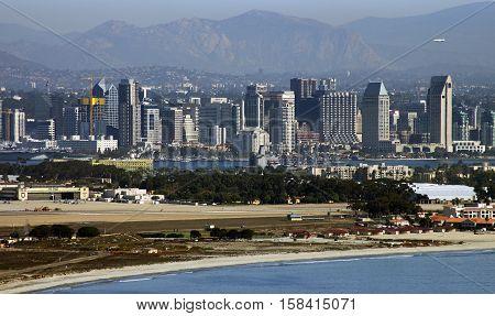 SAN DIEGO, CALIFORNIA - NOVEMBER 03: San Diego closeup view of high up mountainon November 03, 2016 in San Diego, California, USA.