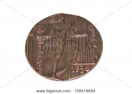 Berlin 1936 Olympic Games Participation Medal, Obverse. Kouvola, Finland 06.09.2016.