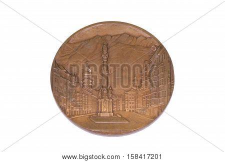 Innsbruck 1964 Winter Olympic Games Participation Medal, Obverse. Kouvola, Finland 06.09.2016.