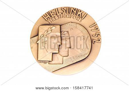 Helsinki 1952 Olympic Games Participation Medal, Obverse. Kouvola, Finland 06.09.2016.