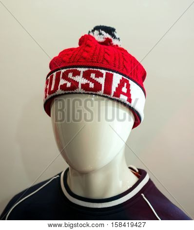 Moscow, Russia - December 30, 2015: Sport hat with the word
