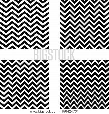 set of seamless zigzag pattern, a zigzag pattern with four black curving stripes, lines curve with a different frequency vector for textiles