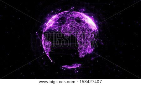 3D Rendering Abstract Globe With Particles And Plexus Structure.