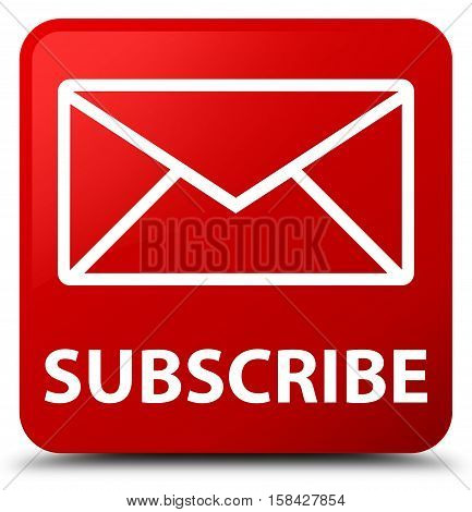 Subscribe (email icon) isolated on abstract red square button