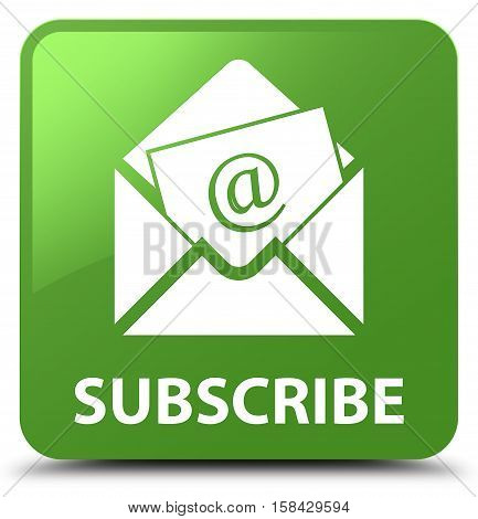 Subscribe (newsletter Email Icon) Soft Green Square Button