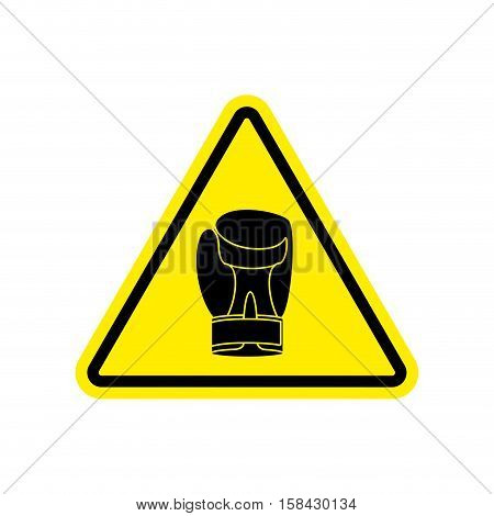 Warning Sign Boxung. Symbol Hazard Attention Of Dangerous Boxer. Danger Road Sign Yellow Triangle Sp