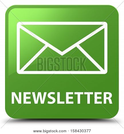 Newsletter (envelop icon) soft green square button