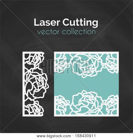 Laser Cut Template. Floral Card For Laser Cutting. Cutout Illustration With Piony. Die Cut Wedding Invitation Card. Vector Envelope Design.