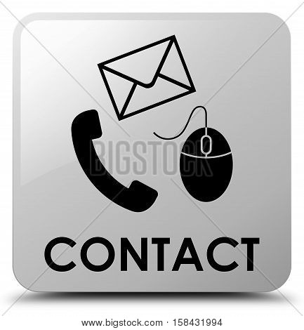 Contact (phone, Email And Mouse Icon) White Square Button