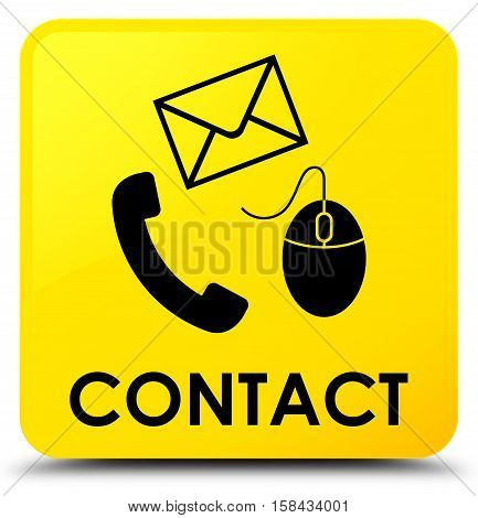 Contact (phone, Email And Mouse Icon) Yellow Square Button