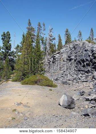 An obsidian rock formation with growth and trees in the Cascade Mountains of Oregon.