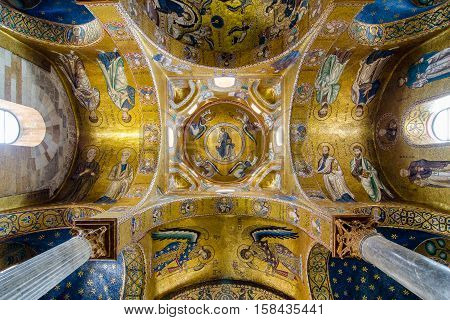 Ceiling In The Church Martorana. Golden Mosaics. Palermo, Sicily, Italy.