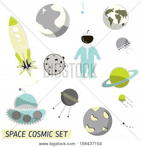Vector space pattern. Illustration with rocket, aliens, shuttle, moonwalker, satellite, cosmonaut, planet and stars. Astronomy Colorful set cartoon objects. Cosmic planet universe wallpaper