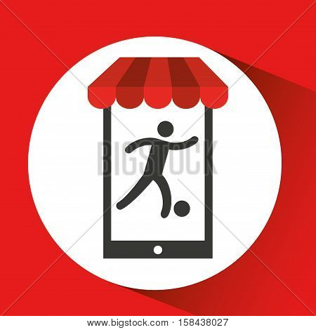 mobile phone silhouette sportman soccer vector illustration eps 10